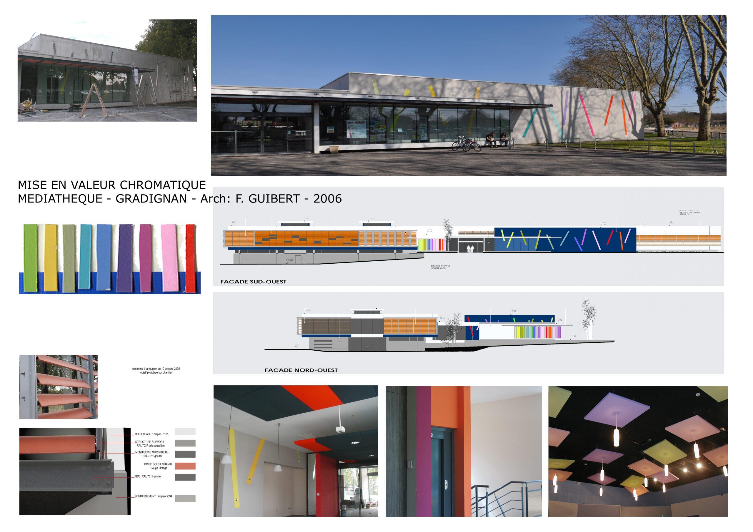 Médiathèque Gradignan-polychromie architecturale-arch François Guibert