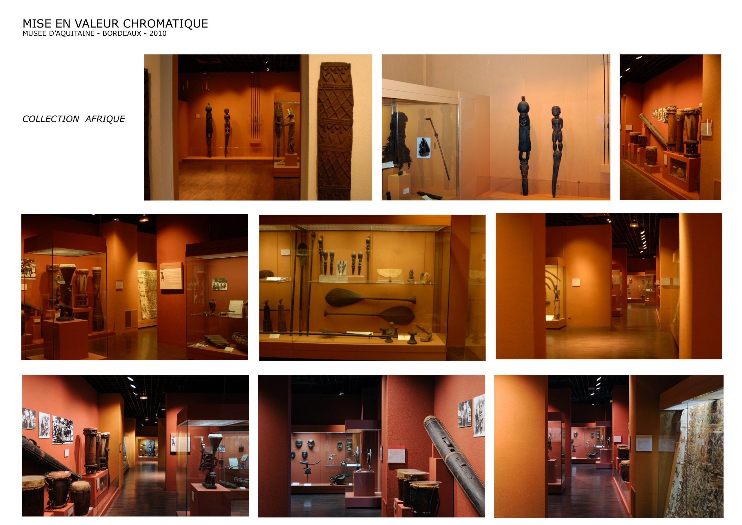 Musée d'Aquitaine Bordeaux- Mise en valeur chromatique-Collection Afrique