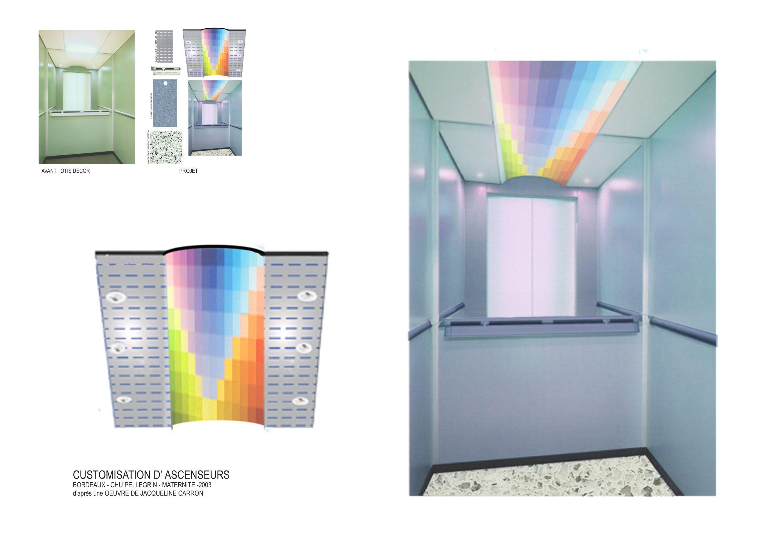 Décor Ascenseur-Oeuvre Jacqueline Carron, peintre-coloriste