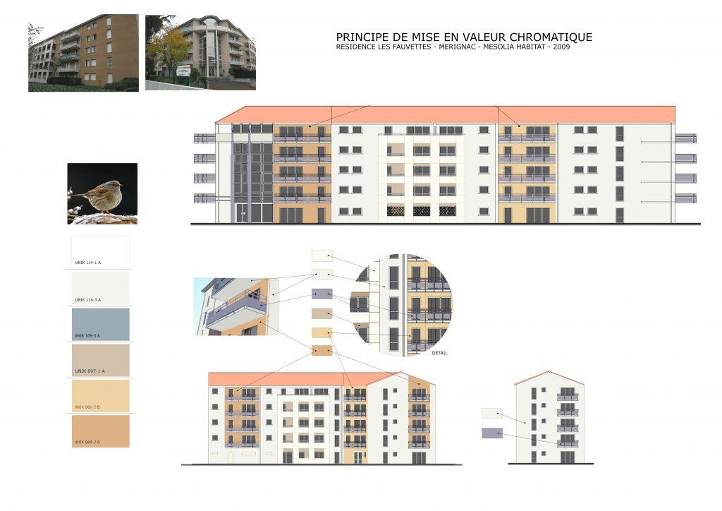 Résidence Les fauvettes Mérignac-coloration de façades