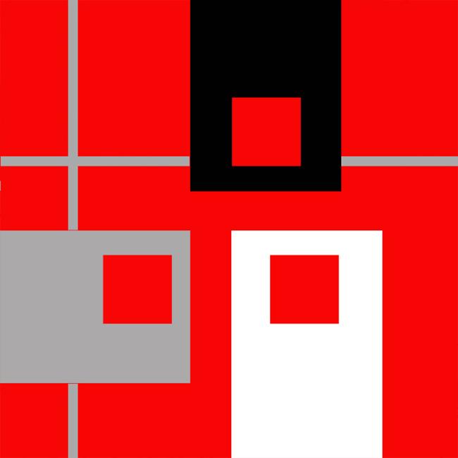 Rouge vif-contraste simultané-acrylique sur toile-90×90-2017